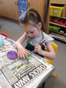 Painting bugs at Preschool, Cheltenham